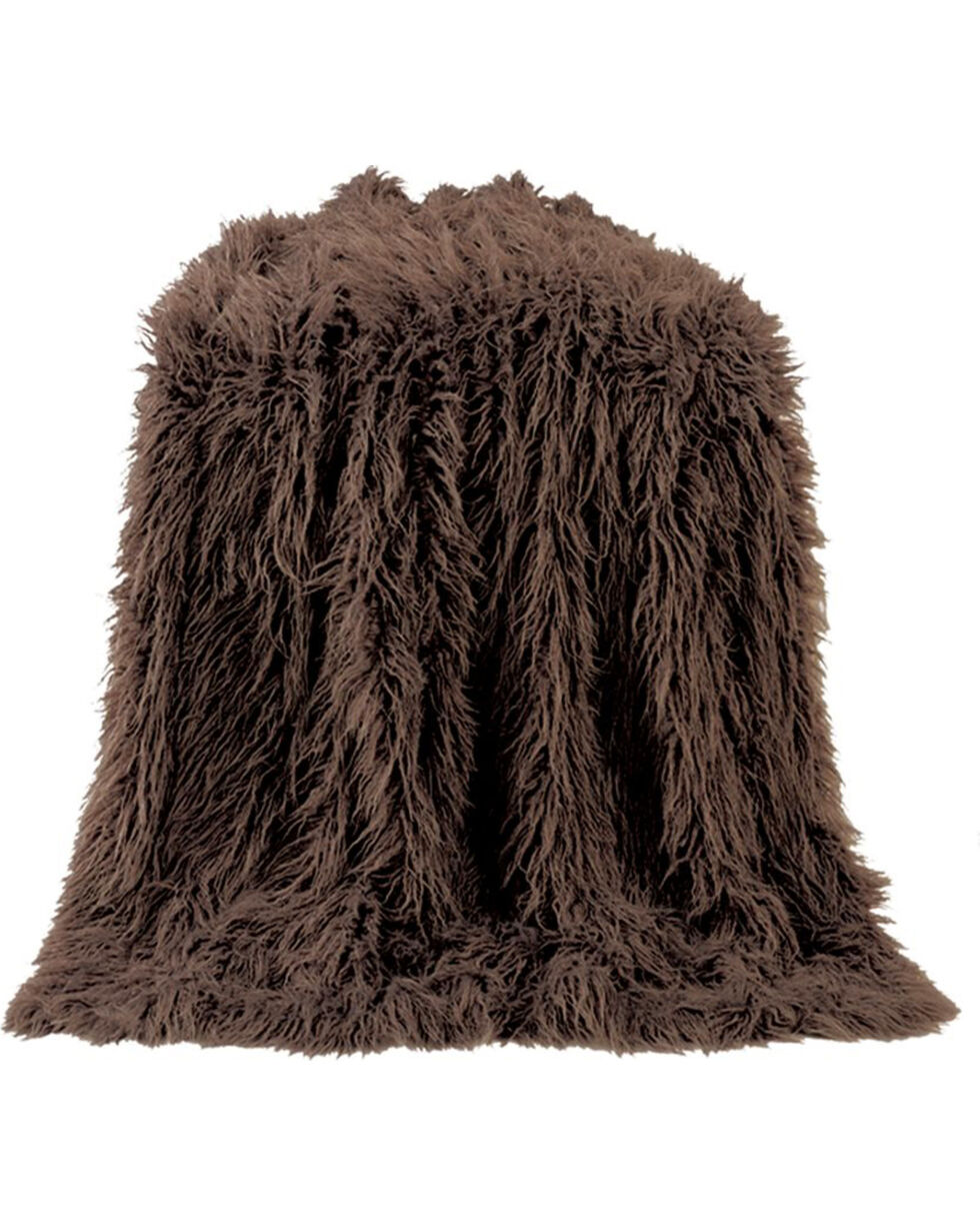 HiEnd Accents Chocolate Mongolian Faux Fur Throw Blanket, Chocolate, hi-res