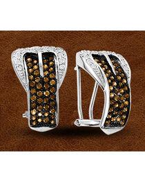 Kelly Herd Sterling Silver Rhinestone Embellished Buckle Clip-On Earrings, , hi-res