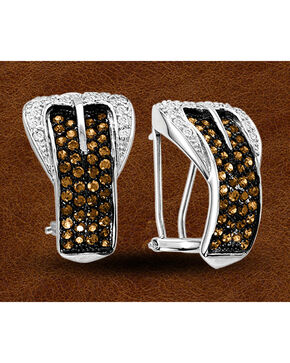 Kelly Herd Sterling Silver Rhinestone Embellished Buckle Clip-On Earrings, Silver, hi-res