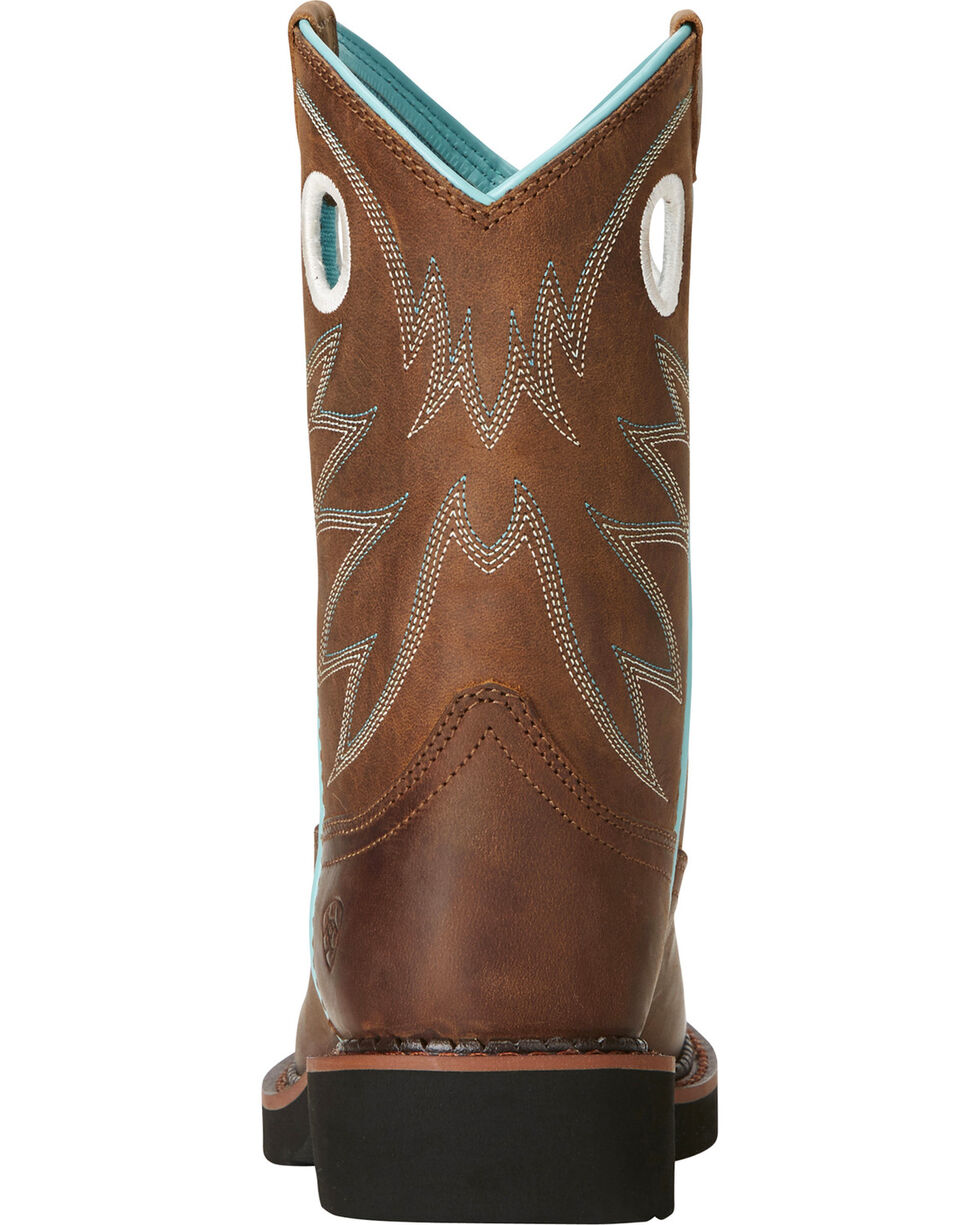 Ariat Fatbaby Girls' Probably Cowgirl Boots - Round Toe, Brown, hi-res