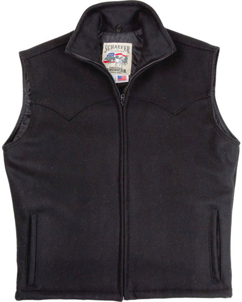 Schaefer Men's Black Arena Melton Wool Vest - 2XL, Black, hi-res
