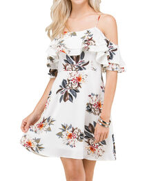 Polagram Women's Floral Cold Shoulder Dress, , hi-res