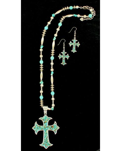 Blazin Roxx Women's X-Long Cross Turquoise Necklace & Earrings Set, Silver, hi-res