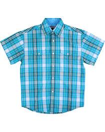 Panhandle Boys' Caribbean Plaid Short Sleeve Shirt, , hi-res