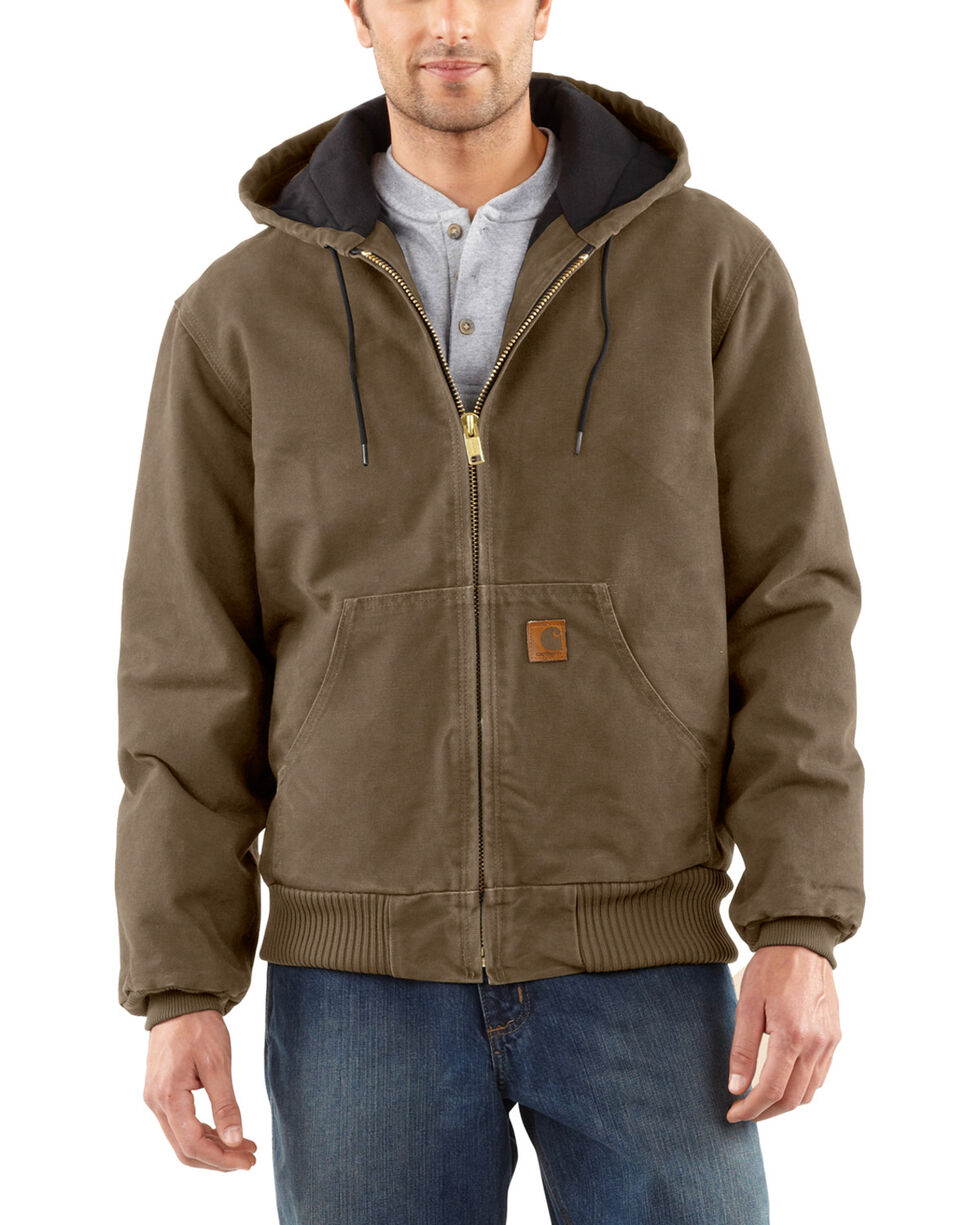 Carhartt Men's Sandstone Flannel Lined Active Jacket - Big and Tall, Light Brown, hi-res