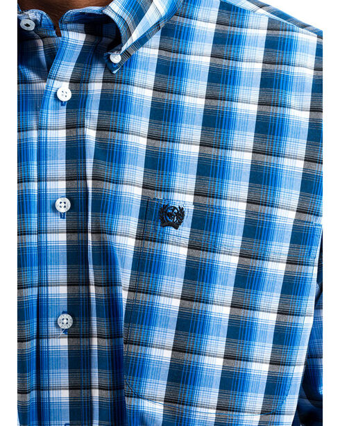 Cinch Men's Royal/Grey Plaid Button Down Western Shirt, Royal Blue, hi-res