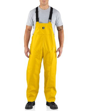 Carhartt Men's Surrey Rain Bib Overalls, Yellow, hi-res