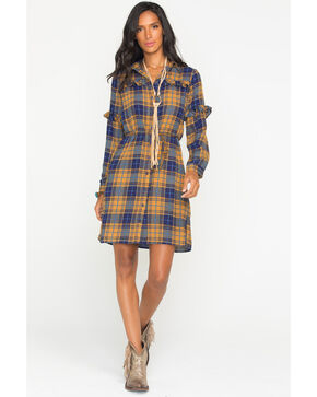 Wrangler Women's Plaid Ruffle Long Sleeve Shirt Dress, Multi, hi-res