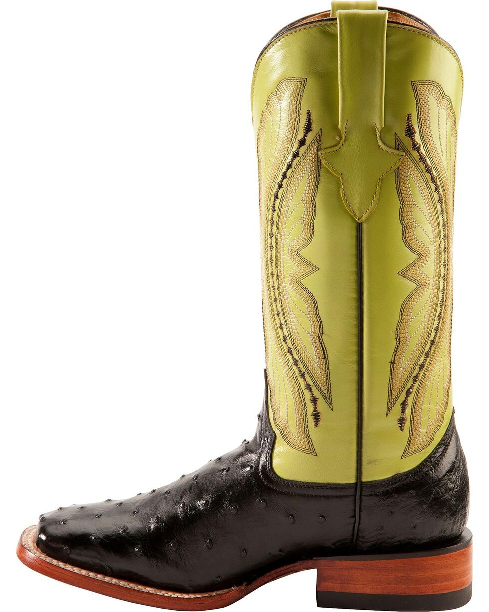 Ferrini Black Full Quill Ostrich Cowgirl Boots - Wide Square Toe, Black, hi-res