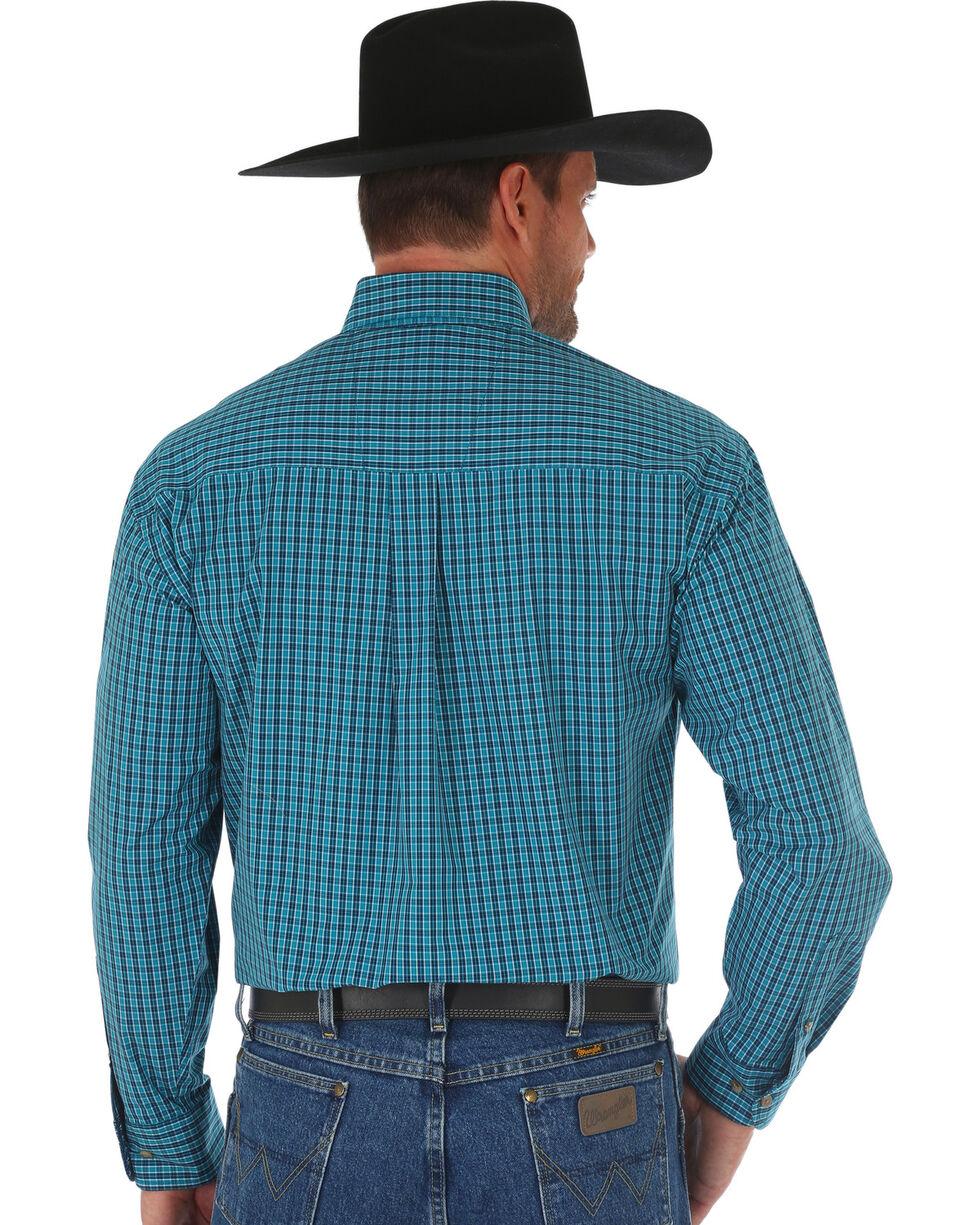 Wrangler George Strait Navy Plaid Long Sleeve Shirt , Navy, hi-res