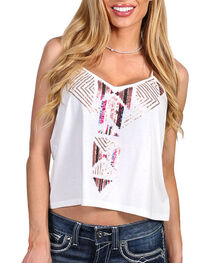 Shyanne® Women's Embroidered Sequin Tank , Ivory, hi-res