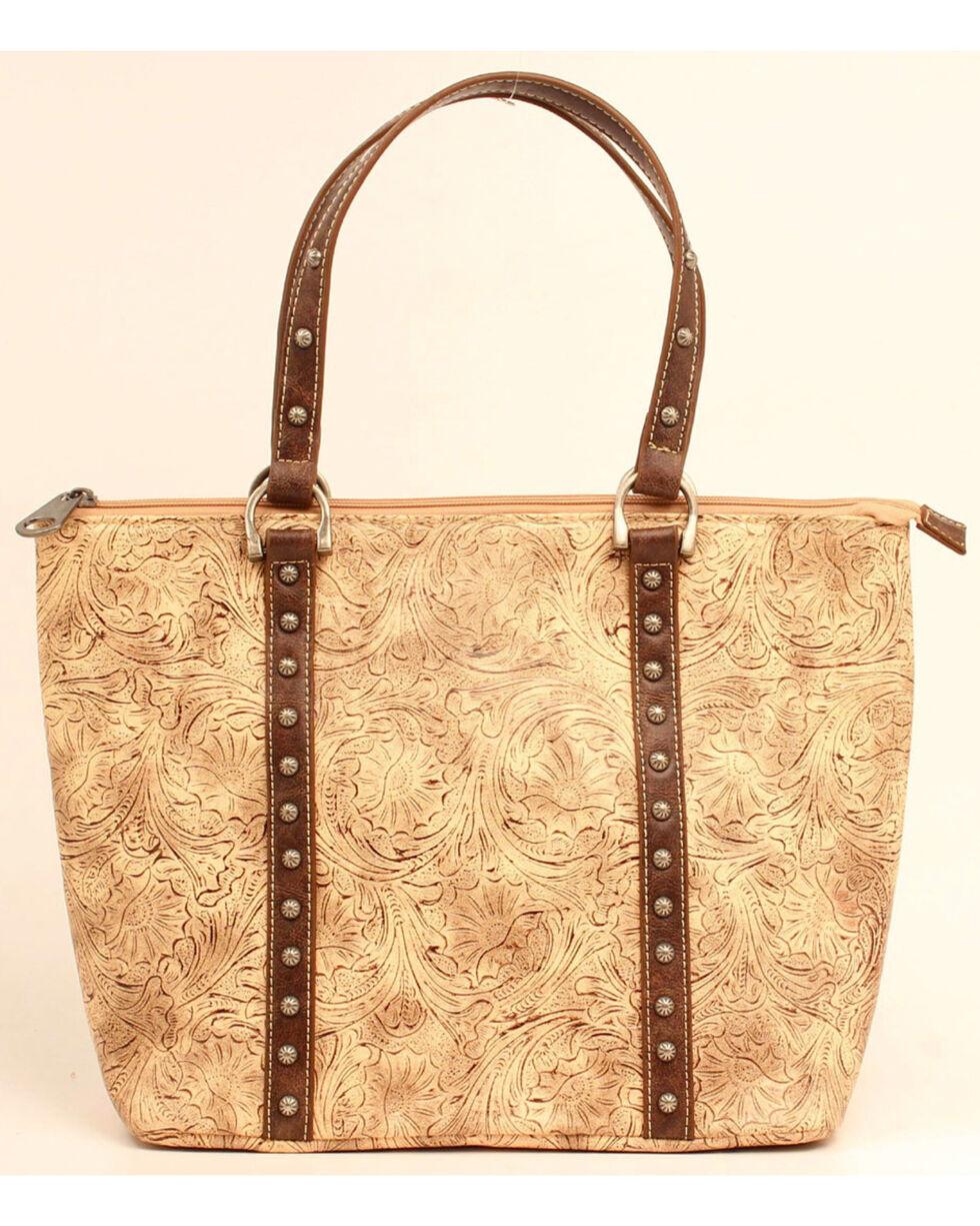 Blazin Roxx Women's Embossed Concealed Carry Tote Bag, Brown, hi-res