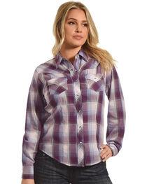 Ely Cattleman Women's Plum Plaid Western Shirt , , hi-res