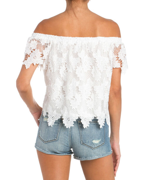 Miss Me Off The Shoulder White Lace Top, White, hi-res