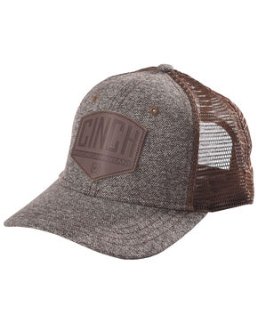 Cinch Men's Embossed Leather Logo Patch Trucker Cap, Brown, hi-res