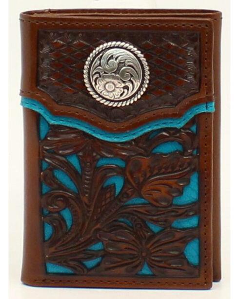Nocona Floral Overlay Tri-fold Concho Wallet, , hi-res