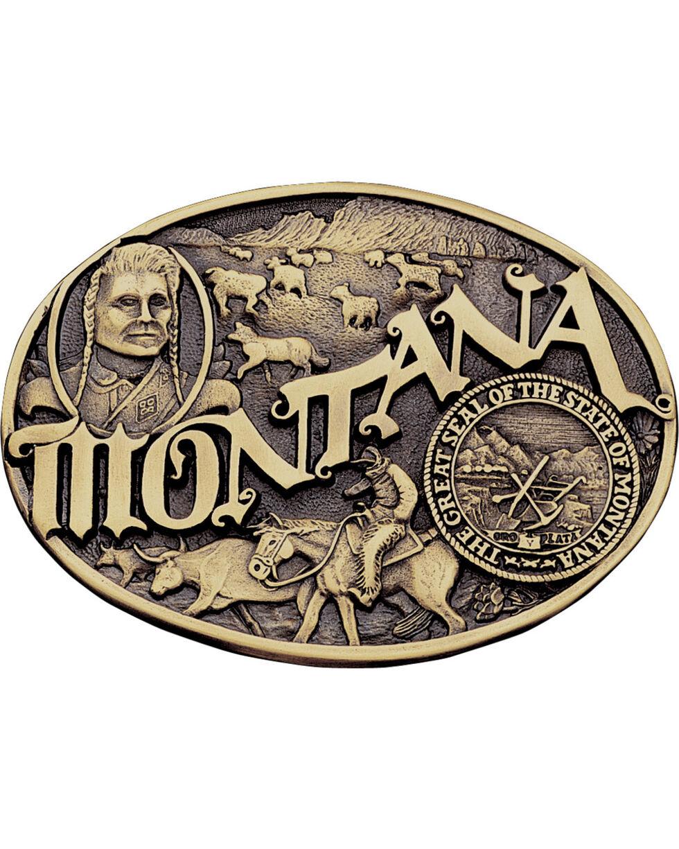 Montana Silversmiths Montana State Belt Buckle, Gold, hi-res