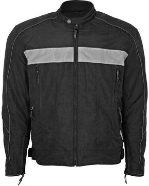 Interstate Leather Men's Cordura Reflective Jacket, Black, hi-res
