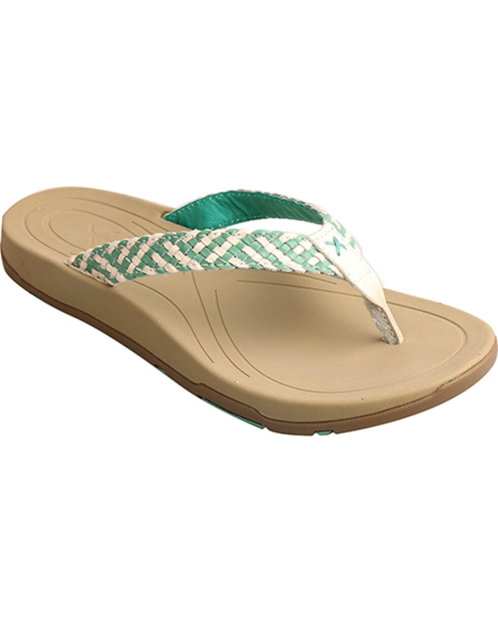 Twisted X Women's Woven Sandals, Teal, hi-res