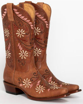 Shyanne® Women's Studded Floral Western Boots, Brown, hi-res