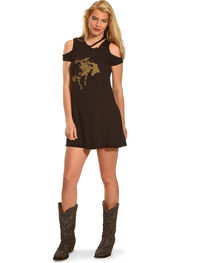 Bohemian Cowgirl Women's Cold Shoulder Cowboy Dress, , hi-res