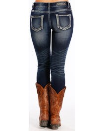Rock & Roll Cowgirl Women's Dark Blue Mid-Rise Jeans - Skinny , Blue, hi-res