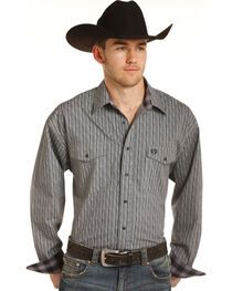 Panhandle Men's Grey Striped Pattern Western Shirt , , hi-res