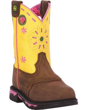 John Deere® Kid's Johnny Popper Western Boots, Tan, hi-res