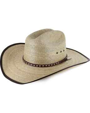 Cody James® Men's Brown Trimmed Straw Hat, Natural, hi-res