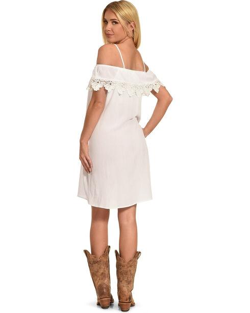 Jody of California Women's Lace Trim Cold Shoulder Dress, White, hi-res