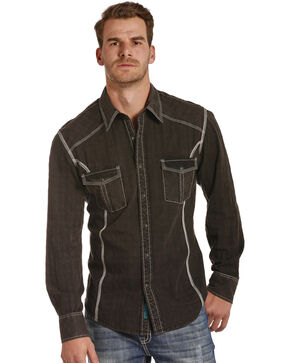 Rock & Roll Cowboy Men's Black Western Shirt , Black, hi-res
