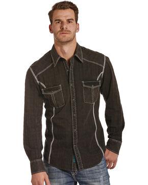 Rock & Roll Cowboy Men's Black Satin Western Shirt , Black, hi-res
