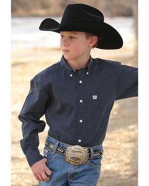 Cinch Boys' Navy Print Button Down Shirt , Navy, hi-res