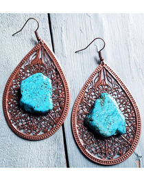 Jewelry Junkie Women's Copper Filigree Turquoise Chunk Earrings , , hi-res