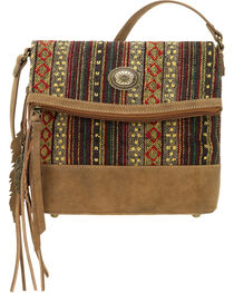 American West Bandana Women's Brown Serape Fold Over Crossbody Bag, , hi-res