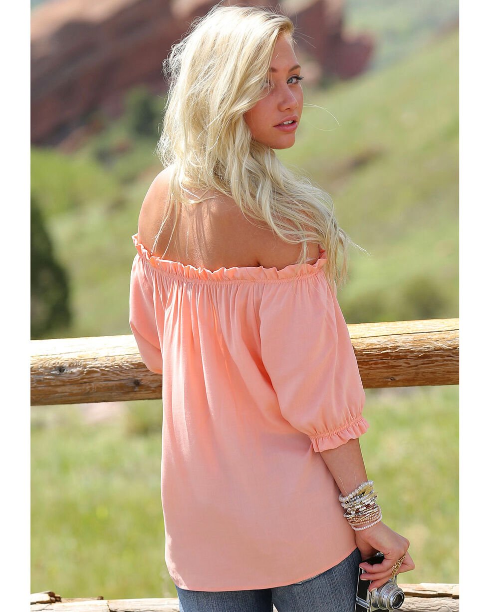 Cruel Girl Women's Coral Embroidered Off Shoulder Blouse , Coral, hi-res