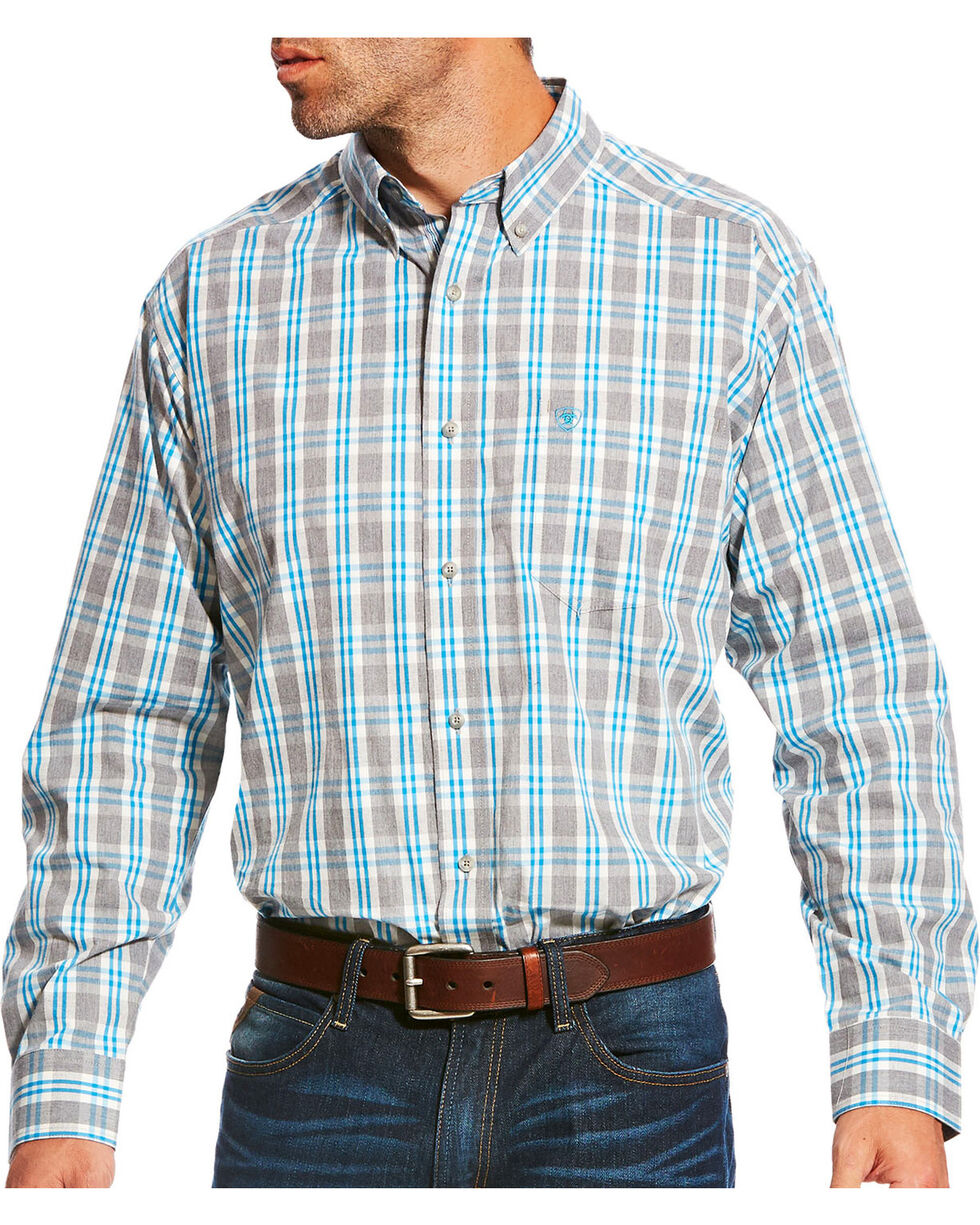 Ariat Men's Pro Series Lucerne Grey Heather Plaid Long Sleeve Button Down Shirt, Grey, hi-res