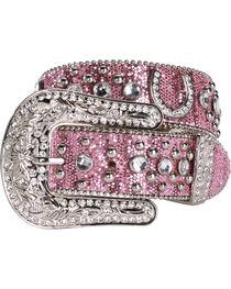 Nocona Belt Co. Kid's Pink Glitter Horseshoe Belt, , hi-res