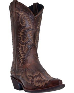 Laredo Men's Midnight Rider Western Boots, Burgundy, hi-res