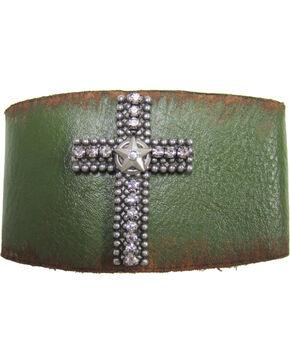 Cowgirl Confetti Leather Rhinestone Cross Cuff, Green, hi-res