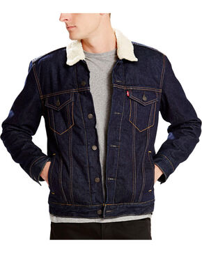 Levi's Men's Sherpa Denim Trucker Jacket, Denim, hi-res
