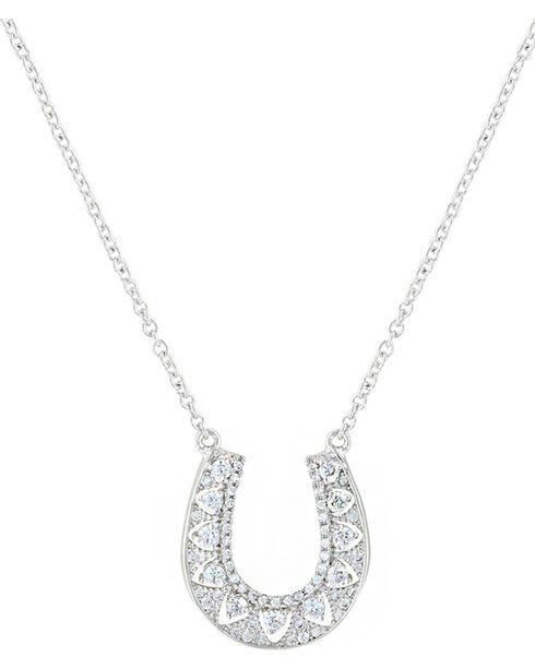 Montana Silversmith's Women's Rhinestone Horseshoe Necklace, Silver, hi-res