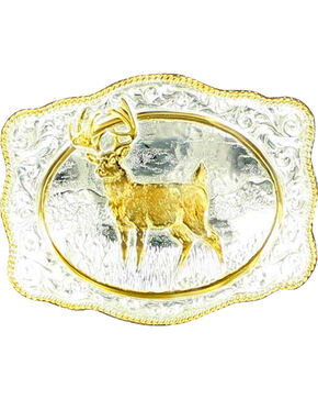 M&F Men's Crumine Standing Stag Belt Buckle, Silver, hi-res
