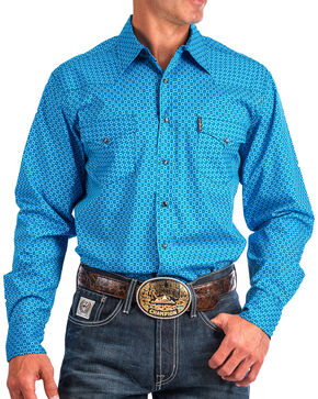 Cinch Men's Blue Modern Fit Printed Shirt , Blue, hi-res