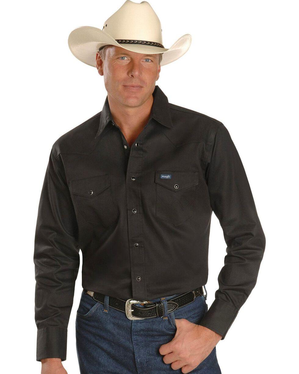 Wrangler Men's Cowboy Cut Firm Finish Long Sleeve Work Shirt, Black, hi-res