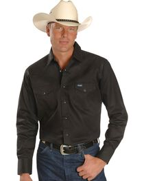 Wrangler Men's Cowboy Cut Work Western Shirts, Black, hi-res
