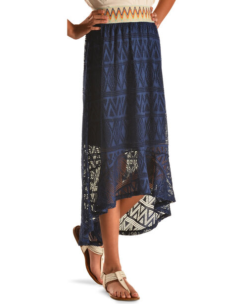 Derek Heart Girls' Blue Hi Lo Crochet Maxi Skirt, Blue, hi-res