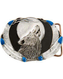 Howling Wolf Belt Buckle, , hi-res