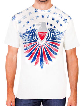 Moonshine Spirit Men's Americana Eagle Short Sleeve T-Shirt, White, hi-res