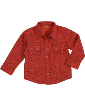 Wrangler Infant Boys' Long Sleeve 2 Pocket Print Shirt, Red, hi-res